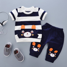 New Fashion Brand 100% Cotton Summer Baby Boys Clothes Set 2pcs Children Clothing Suit Bebe Kids Short Sleeve B