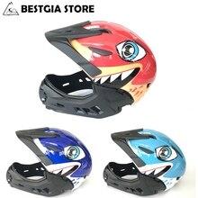 3 in 1 Fullface Kids Cycling Helmet Children Bike Helmets  Shark Bicycle with Visor Detachable Casco Cclismo BMX Scooter