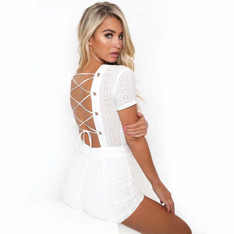 0c2455556d0 Efvandoloe Women playsuits white lace up sexy jumpsuits female v neck  rompers backless combinaison femme overalls short jumpsuit-in Rompers from  Women s ...