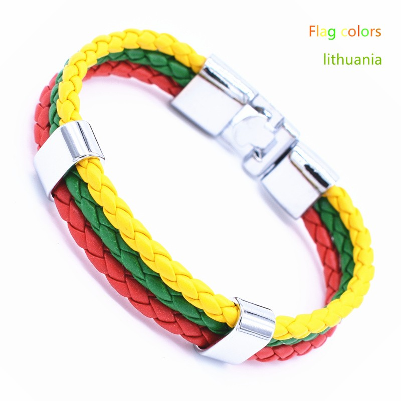 Wholesale Length 21cm 3 Strands Rope Braided Leather Chain & Link Bracelet Men Wristband National Flags Color Sports Bracelets 5