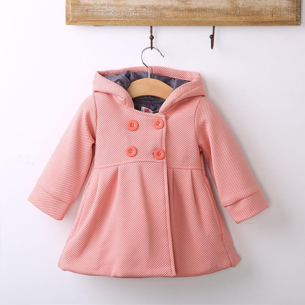 Cute Baby Girls Winter Warm Wool Blends Snowsuit Pea Coat -3268