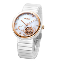 OUPAI Ultrathin Design Lovers Waterproof Watch Women Ceramic Wristwatch Dial Quartz Camellia Watches For Women Romantic Gifts