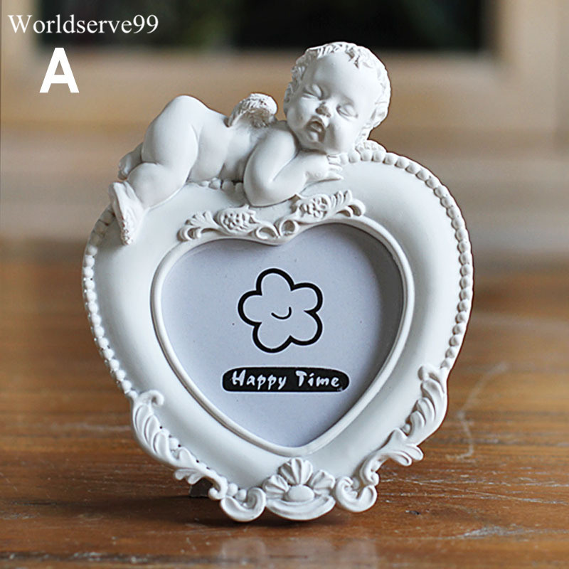 2 white angel resin photo frame heart round baby frames home decor baby shower