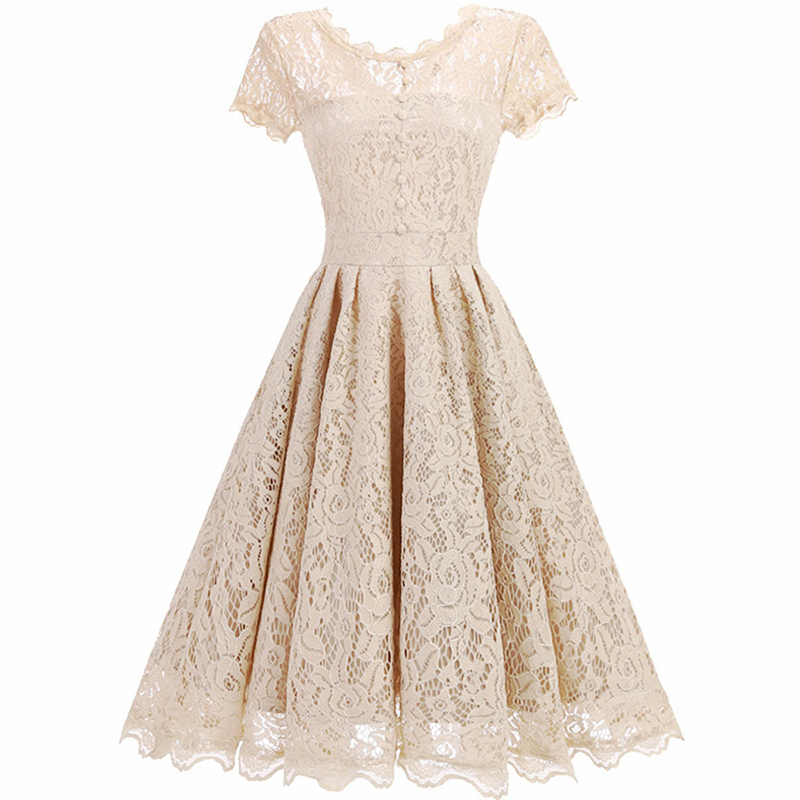 Dressv champagne   cocktail     dress   cheap scoop neck short sleeves graduation party   dress   lace fashion   cocktail     dresses