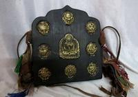 9 China Tibet wood inlay bronze gild Eight treasures Medicine Buddha Statue