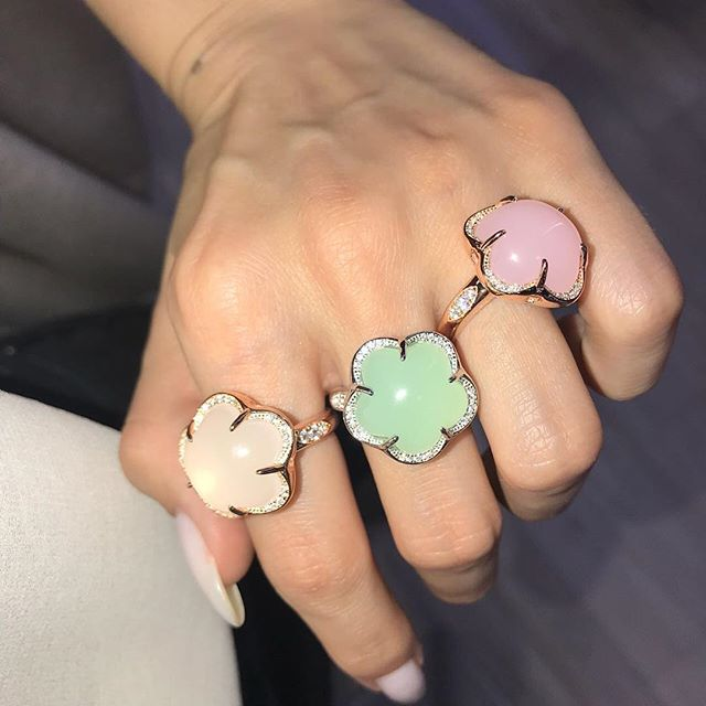 Fashion Five Petal Flower Pink White Green Colorful Opal Jewelry 925 Sterling Silver Ring White Gold