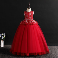 2019 Summer Children Prom Dresses Clothes Frock Red Kids Ceremony Party Wear Girls Ball Grown Dress