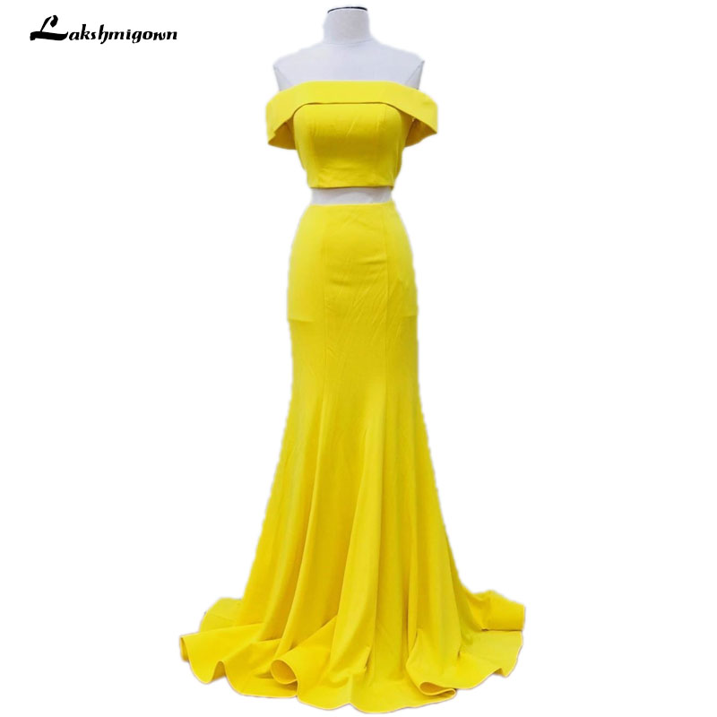 6f67120c738 Long Mermaid Two Piece Prom Dresses Yellow Off Shoulder Formal Evening Gowns