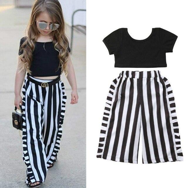 1-6Y летняя детская одежда для маленьких девочек 2 предмета, короткий рукав, черный укороченный топ + широкие штаны в полоску Одежда для маленьких девочек