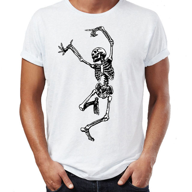 t shirt homme 2018 new cartoon dancing skeleton dancer death zombie body anatomy halloween t