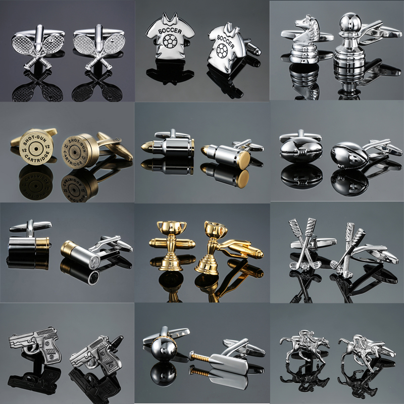 DY The New High Quality Brass Sports Gold Silver Pistol Bullets Golf Rugby Cufflinks Men's French Shirt Cufflinks Free Shipping