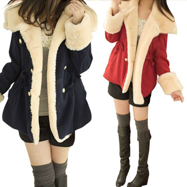 Winter Womens Warm Winter Fur Turn-down Collar Long Jacket Outwear Coat