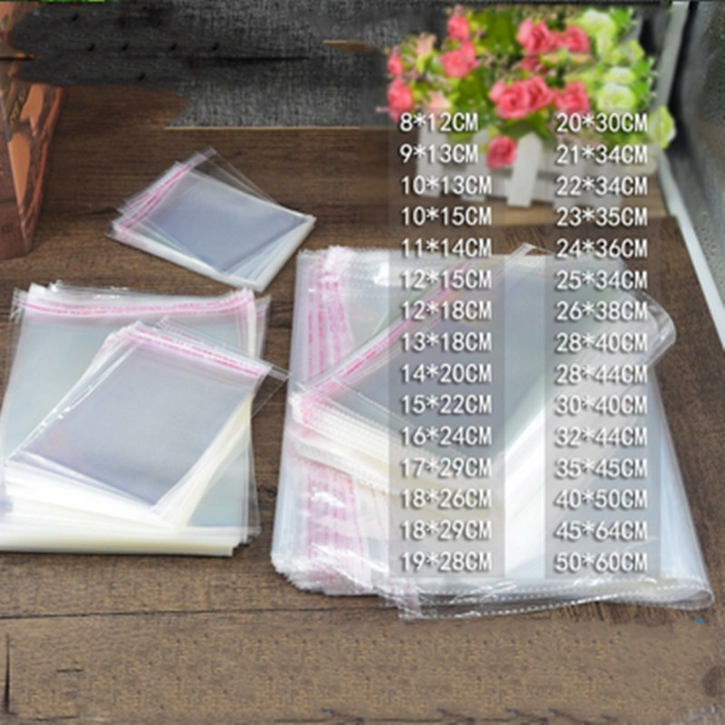 1000PCS Big Size OPP Poly Bag Multi Style Clear Self Adhesive Seal Plastic Packaging Bag For Clothes Resealable Cellophane
