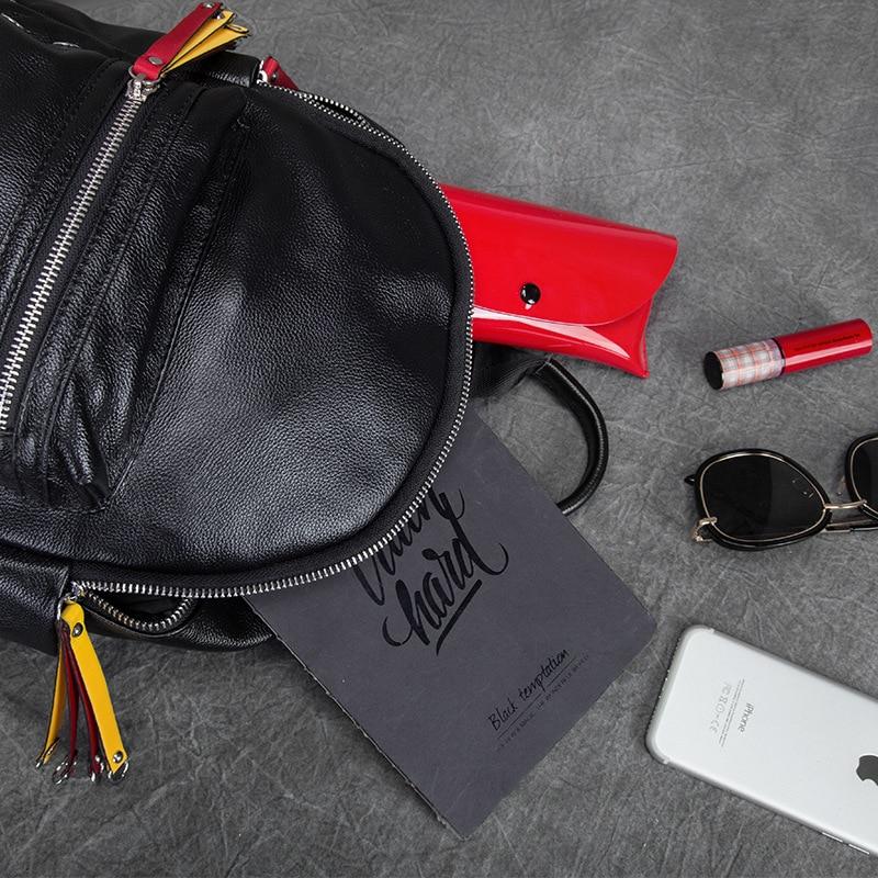 2018 Для женщин рюкзаки новый первый слой кожаная дорожная сумка маленький корейский женский черный натуральная кожа школьница рюкзак - 3