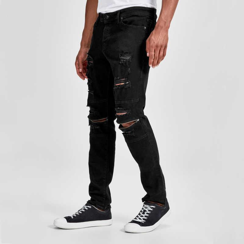 แบรนด์ใหม่บุรุษซิปสีดำกางเกงยีนส์ Skinny Ripped ทำลายยืด Slim พอดี Hop Hop กางเกงกับหลุม