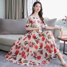 New Fashion Women Summer Short Sleeve Beach Style Leisure Printed Chiffon Dress
