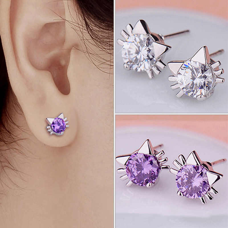 Female Earring Fashion Jewelry New Design 2 Colors Crytal Silver Stud Cat Earrings For Women Girls Fit for Different Clothes