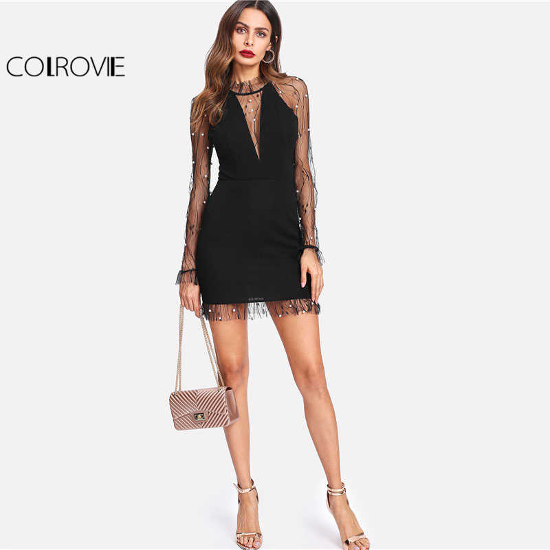... COLROVIE Black Pearl Beading Vine Mesh Panel Dress Women Ruffle Round Neck  Long Sleeve Sexy Dress 7477a11fc283