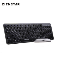 Zienstar Russia English Letter 2.4G Wireless Keyboard Mouse Combo with USB Receiver for Macbook,Computer PC,Laptop and TV BOX