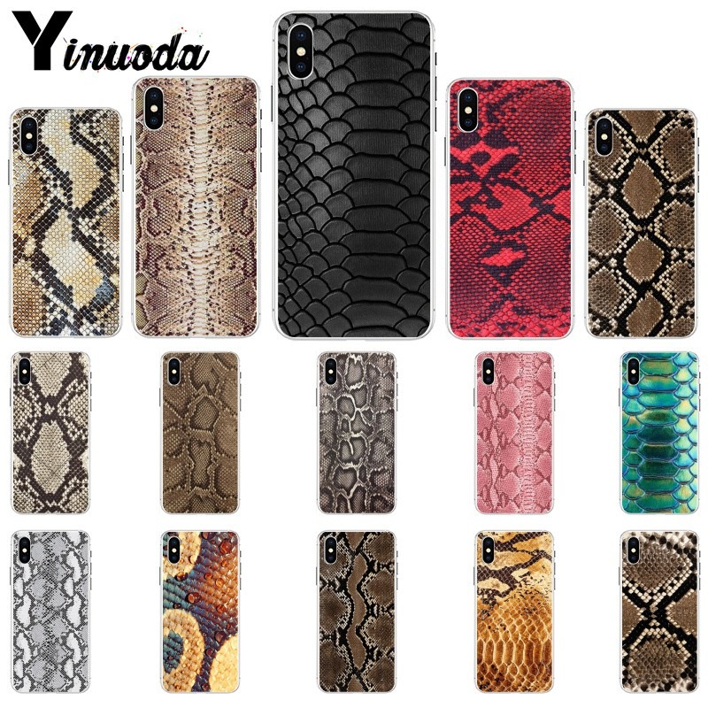 Yinuoda snake skin art Soft Silicone TPU Phone Cover for iPhone X XS MAX 6 6s 7 7plus 8 8Plus 5 5S SE XR in Half wrapped Cases from Cellphones Telecommunications