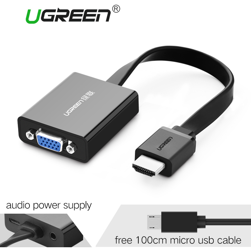 Ugreen HDMI to VGA adapter Digital to Analog Video Audio Converter Cable hdmi vga connector for Xbox 360 PS4 PC Laptop TV Box vga to hdmi hd video converter w usb cable black white