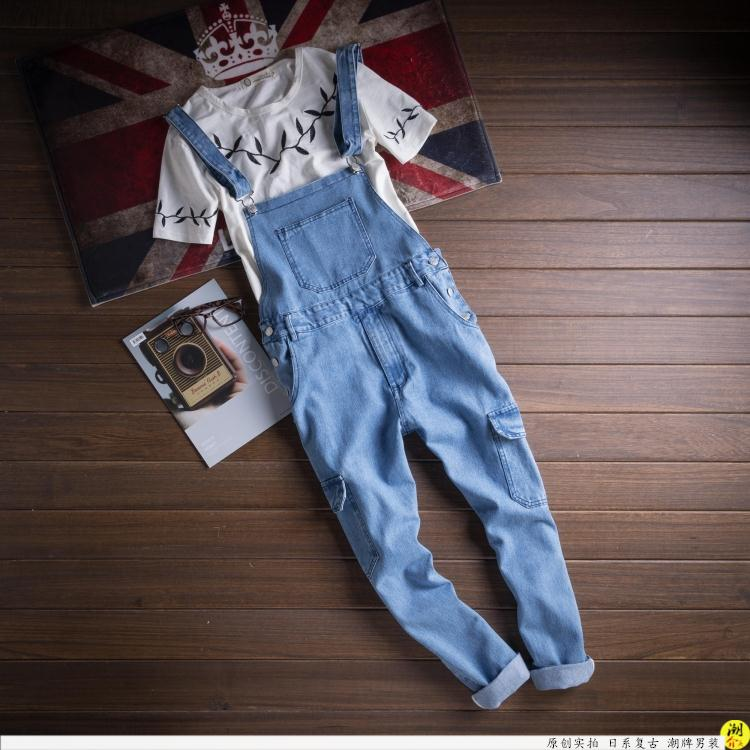 2017 Spring Autumn Fashion mens skinny jean overalls Casual bib jeans for men Male Ripped denim jumpsuit  Suspenders Bibs 010802 new mens skinny jean overalls blue suspenders multi pocket bib pants holes denim trousers size m 2xl