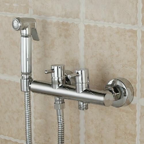 Bathroom bidet mixer hand shower with holder Brass wall mounted faucet for bidet and closestool bidet