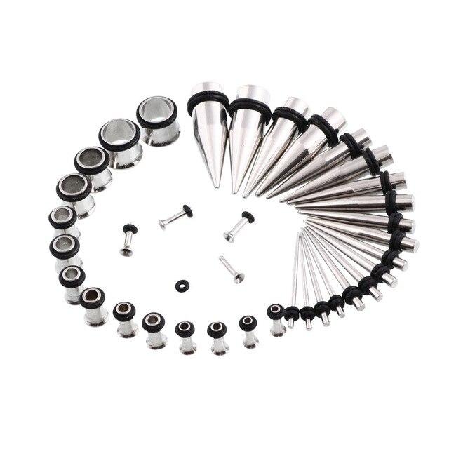 36Pcs Metal Ear Plugs Expander Kit Taper Stretcher Gauges Stretching 00G-14G