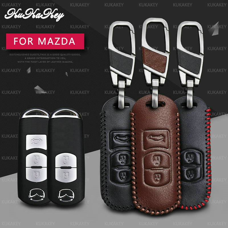 KUKAKEY Remote Smart Car Key Case For Mazda 2 3 5 6 8 CX5 CX7 CX9 M2 M3 M5 M6 GT Leather Keychain Keyring Key Holder Cover Bag