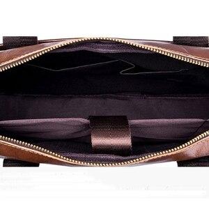 Image 5 - BULLCAPTAIN Genuine Leather MenS Briefcase Vintage Business Computer Bag Fashion Messenger Bags Man Shoulder Bag Postman