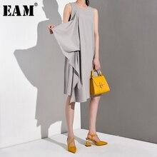 [EAM] 2020 חדש אביב קיץ עגול צוואר שרוולים שחור Loose פיצול משותף ראפלס טמפרמנט שמלת נשים אופנה גאות JG2220