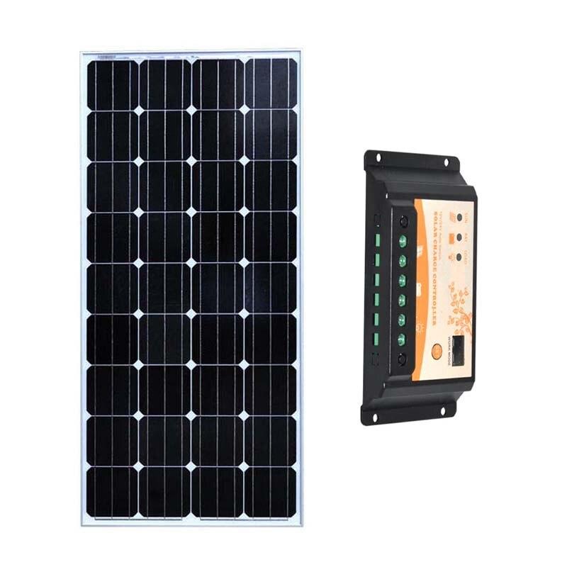 150w 12v Led Lights Camping Solar PV Module Kit Solar Battery Charger Solar Charge Controller 12v/24v 20A Motorhome Car Caravan
