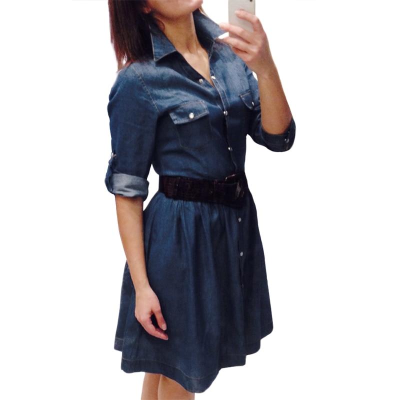 Hohe Qualität Herbst Denim Kleid Kleidung Plus Größe Frauen Jeans Kleid Elegante Frühling Dünne Cowboy Casual Kleider Vestidos Herrenbekleidung & Zubehör