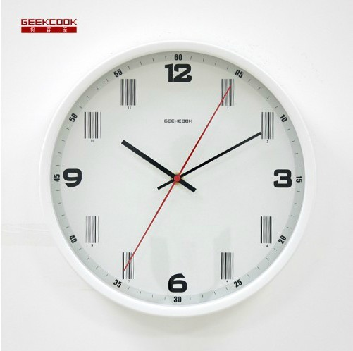 wall clock,the barcode of time,white/black/red/silver,metal circle,Novelty Item, great gift, free shipping via CPAM