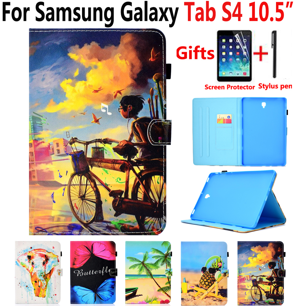 Painted Leather Case for Samsung Galaxy Tab S4 10.5 Cover T830 T835 SM-T830 SM-T835 Stand Smart Case for Samsung Tab S4 10.5