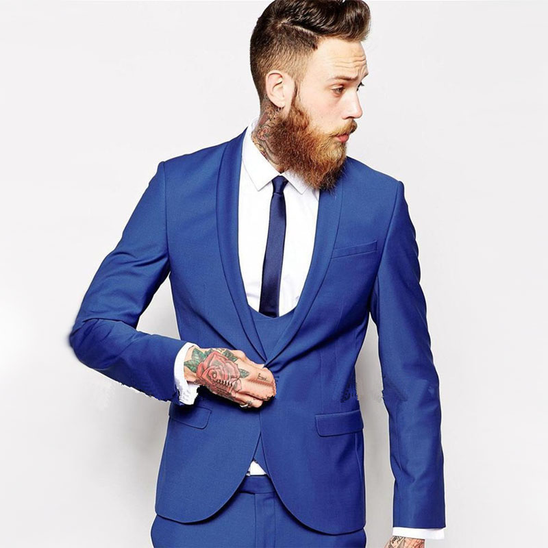 2016 Custom Made Royal Blue Men Suit men tux Classic Groom Tuxedos ...