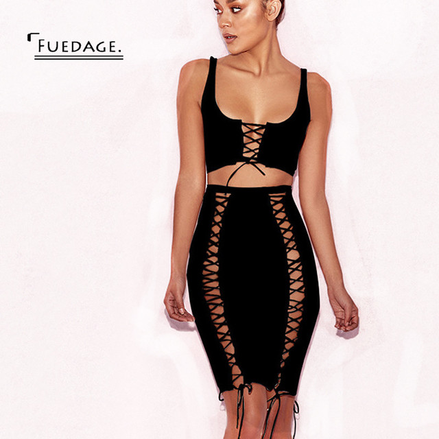 Fuedage 2017 the Most Popular Lace Up Women Dress 4 Color Pink Black High  Waist Knee