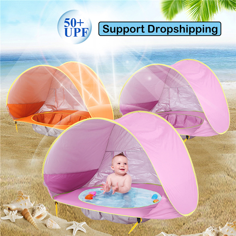 Baby <font><b>Beach</b></font> Tent Uv-protecting Sunshelter <font><b>Children</b></font> <font><b>Toys</b></font> Small House Waterproof Pop Up Awning Tent Portable Ball Pool Kids Tents image