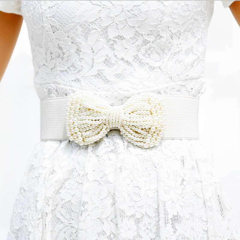 Inadice السيدات الصيف مشد حزام عالية الجودة أنيقة اللؤلؤ القوس حزام الإناث واسعة حزام اللباس واسعة حزام