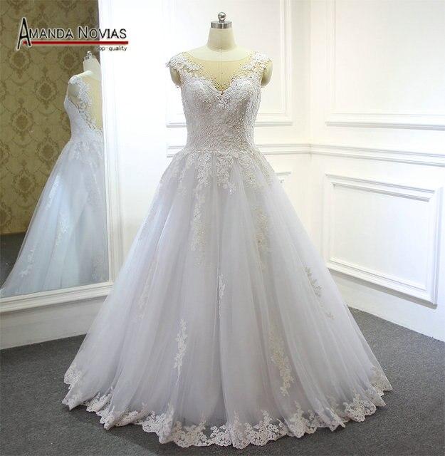 2017 Hot Sale Amanda Novias High End Lace Wedding Dress With Detachable Train