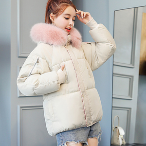 Image 2 - b 2020 Short Cotton padded Jacket Fashion Winter Jacket for Women Fur Collar Coat Women Black Womens Outerwear Parka