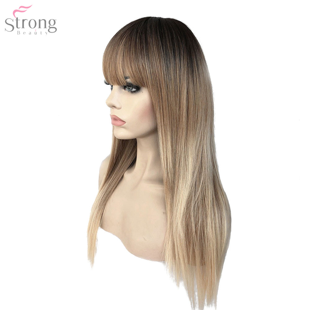 StrongBeauty Women s Synthetic Wigs Hair Matte Ombre Long Straight Neat Bang Style Natura Wig Blonde