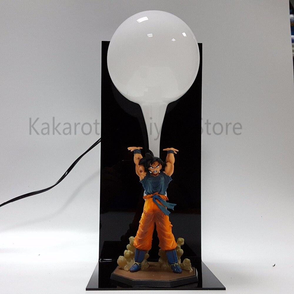 ドラゴンボールZアクションフィギュア孫悟空スーパーサイヤ人元気ダマスピリットボムアニメドラゴンボールグッズモデル玩具DBZ +電球+ベース