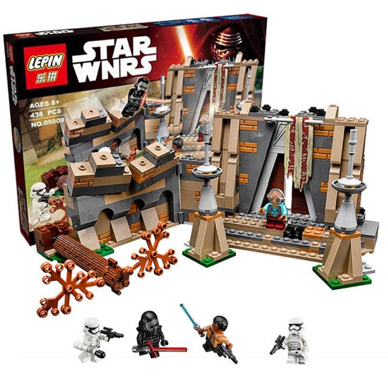 ФОТО 438Pcs LEPIN 05009 Star Wars Battle on Takodana Model Building Kits figures Blocks Bricks Kids Toy