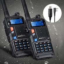 Baofeng uv-5x увч + укв dual band двусторонняя любительское радио fm трансивер walkie talkie + кабель для программирования совместим с win 10 mac