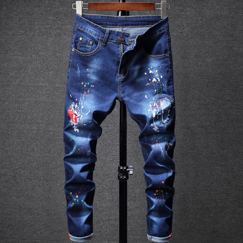 2019 Newly Fashion Men's   Jeans   Blue Color Destroy   Jeans   Broken Pants Slim Fit Punk Style Paint Printed   Jeans   Stretch Trousers