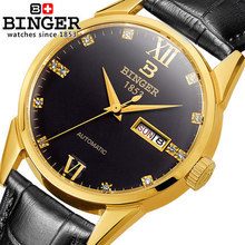 2017 New Binger Watches Luxury Brand Leather Strap Watch for Men Ultra-thin Crystal Analog Military Watch Waterproof Wristwatch