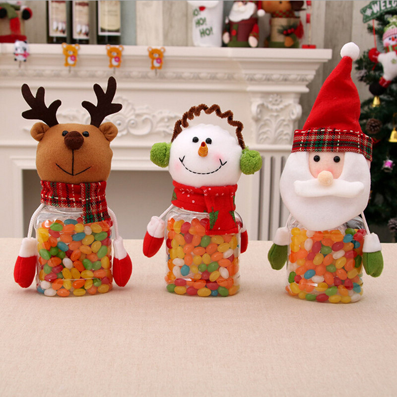 Christmas Decorations Cute Santa Claus Snowman Candy Jars ...