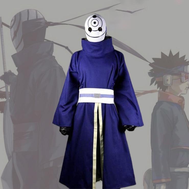 Anime Naruto Shippuden Uchiha Obito/Madara Cosplay Costume Halloween Carnival Ninja Battle Suit Blue Kimono No Mask Custom Made