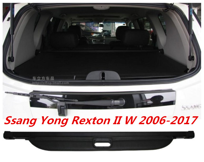 JIOYNG Car Rear Trunk Security Shield Cargo Cover For SsangYong Rexton II W 2006 2017 High Qualit Auto Accessories